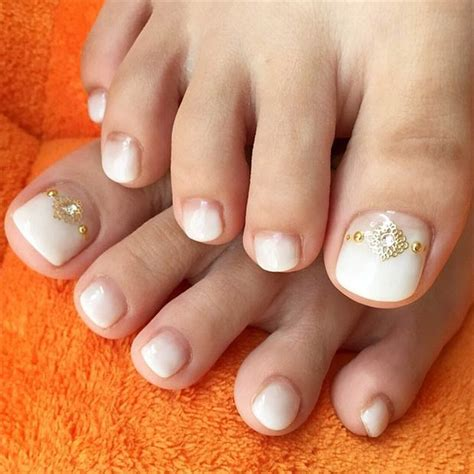 wedding toe nail art design white on white french pedicure 31 adorable toe nail designs for this summer stayglam