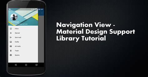 tutorial android library navigation view material design support library tutorial