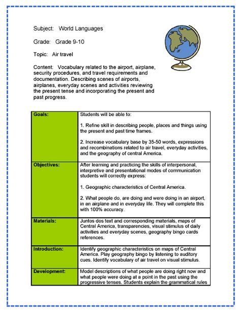 language lesson plan template world language lesson plan sle lesson plans