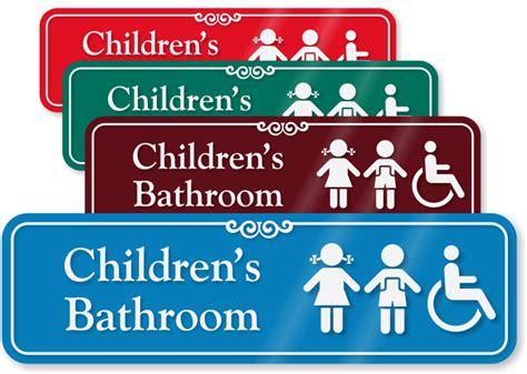 kids bathroom signs children s bathroom sign with girl boy and handicap symbols sku se 5150