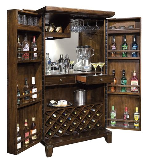 standing wine and liquor cabinet in wood home bar
