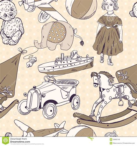 toys sketch seamless pattern stock vector image