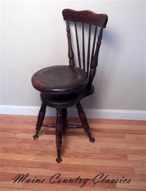 Piano Stool With Back by 19th C Antique Claw Foot High Back Adjustable Piano Organ Stool Chair Merriam