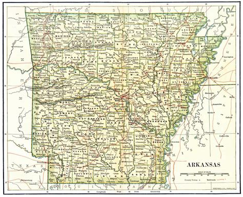 arkansas state on us map detailed administrative map of arkansas state 1892