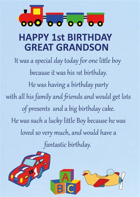Birthday Card For Grandson 1st Birthday Great Grandson 1st Birthday Card Ebay
