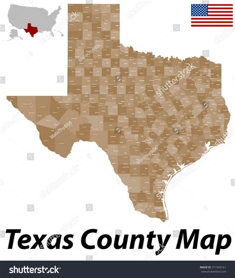 texas county seat map large detailed map state texas all stock vector 271926161