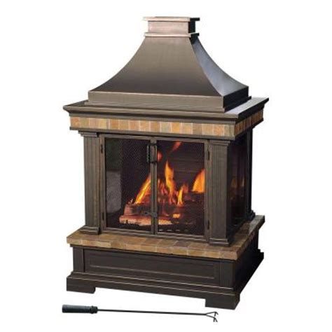 portable outdoor fireplaces wood burning sunjoy amherst 35 in wood burning outdoor fireplace l