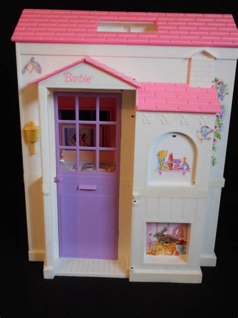 folding dolls house vintage barbie pretty pink folding doll house ebay