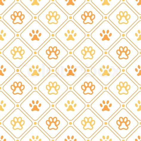 Animal seamless vector pattern of paw footprint, line and
