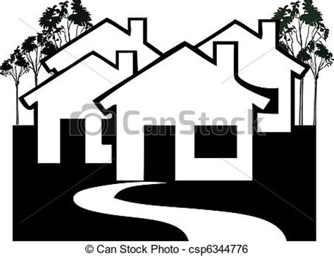 Drawing House Plans Free by Clip Art Vector Of Houses Village In Black And White