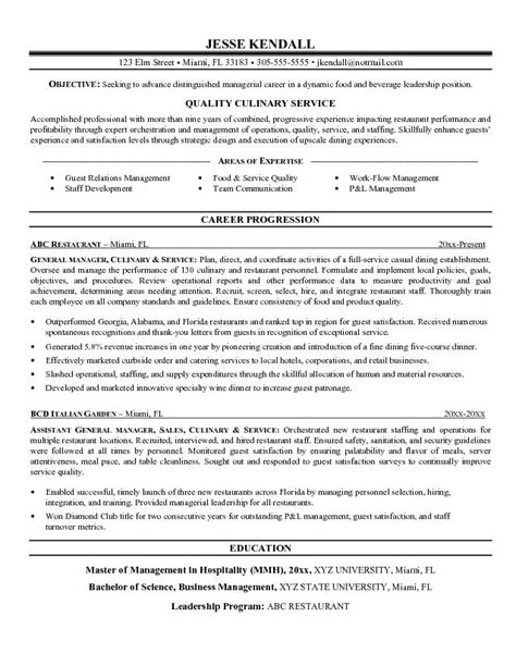 resume exle professional culinary resume templates