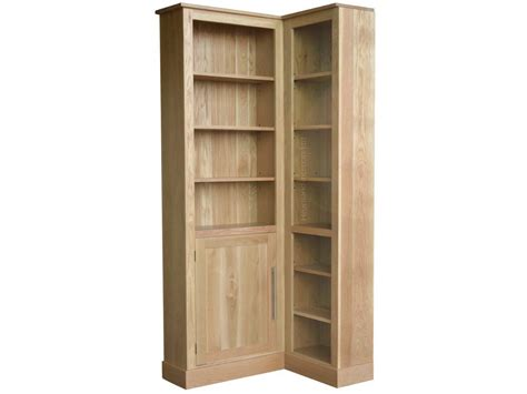 Solid Oak 217 5cm Tall L Shaped Corner Bookcase With Door Corner Bookcase With Doors