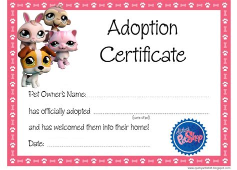 Pet Adoption Certificate Template artist loft littlest pet shop free