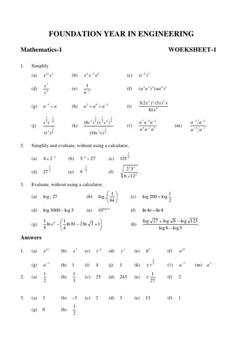 Logarithm Worksheet With Answers by Worksheet 1