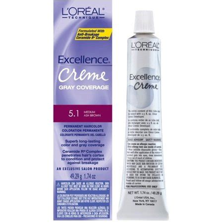 l oreal excellence creme permanent hair color medium ash brown 5 1 1 74 oz pack of 3 l oreal excellence creme permanent hair color medium ash brown 5 1 1 74 oz walmart