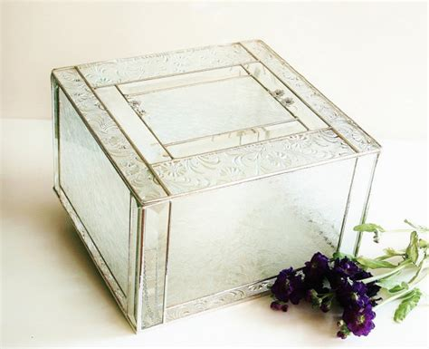 Glass Gift Card Box - elegant stained glass wedding keepsake display box reception