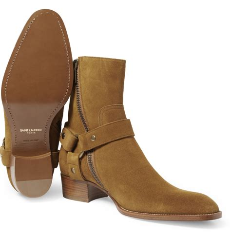 mens laurent boots lyst laurent suede boots in brown for