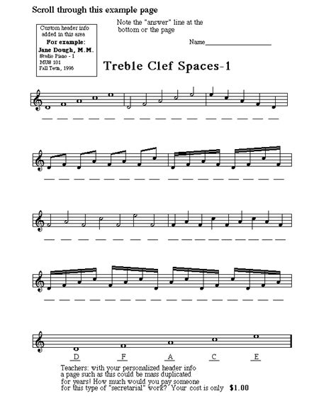 Note Reading Practice Worksheets by Treble Clef Notes Worksheet Abitlikethis