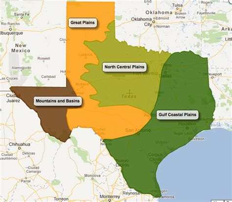 texas 4 regions map physical regions of texas texas and its