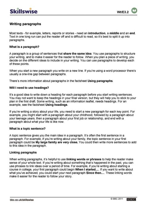 How To Write A Paragraph Worksheet by Writing Paragraphs