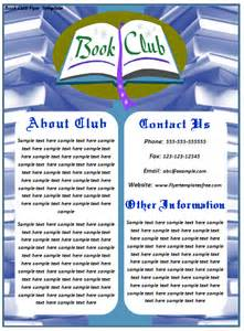 book flyer template book club flyer template introduce club to your society