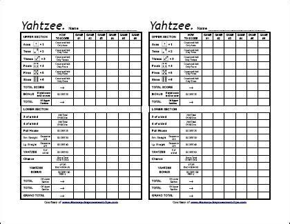 printable yahtzee paper best photos of yahtzee score sheets 81 2 x 11 card