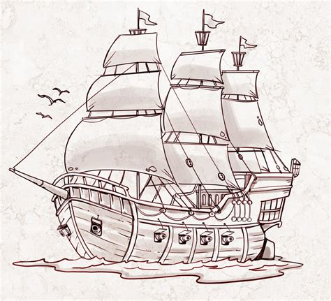 pirate boat drawing easy boat drawing simple at getdrawings free for personal