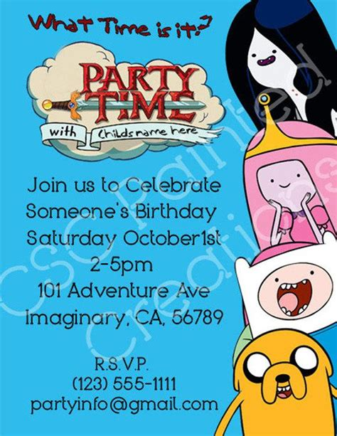adventure time birthday card template adventure time birthday invitations by cscpaintedcreations