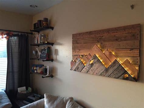 how to light artwork diy wooden mountain range wall art love this headboard