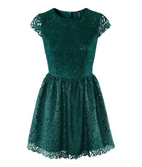 Hm Dress lyst h m lace dress in green