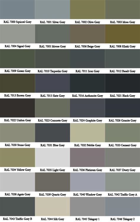 ral grey colour chart ral colour charts ral colour chartpdf 第10页 点力图库