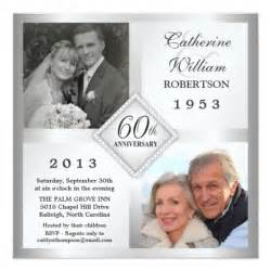 60th silver anniversary photo invitations zazzle