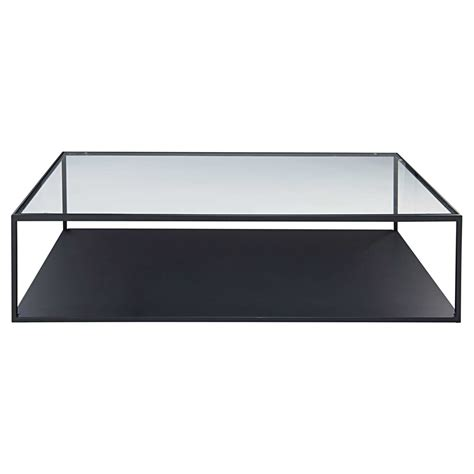 Table Basse Verre Metal by Table Basse En M 233 Tal Noir Et Verre Tremp 233 Watson Maisons