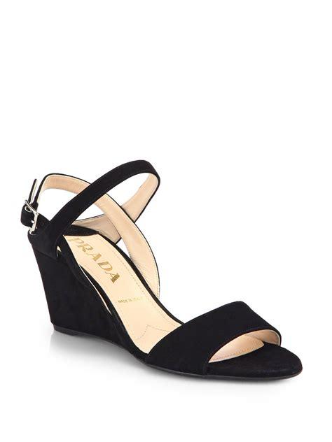 black prada sandals prada suede slingback wedge sandals in black lyst