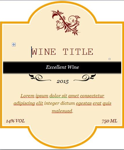Wine Label Word