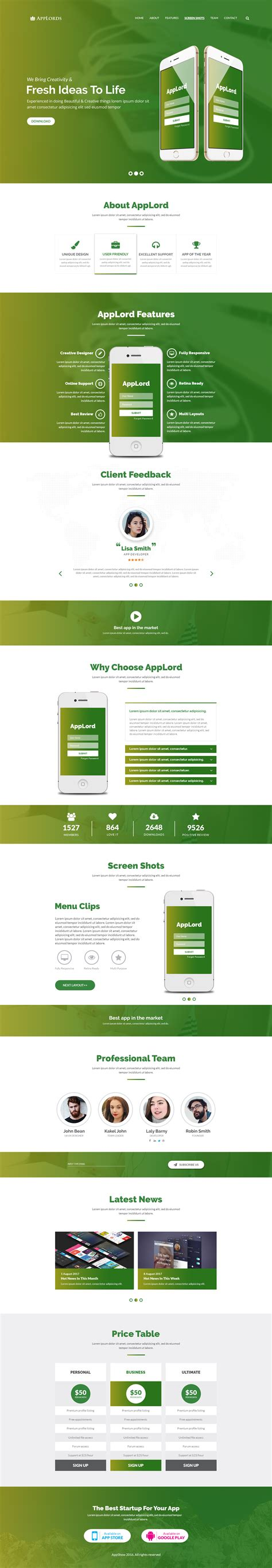 start responsive one page template applords one page multipurpose responsive html template