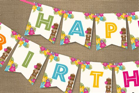Free Printable Luau Birthday Banner | luau party banner hawaiian party birthday banner instant