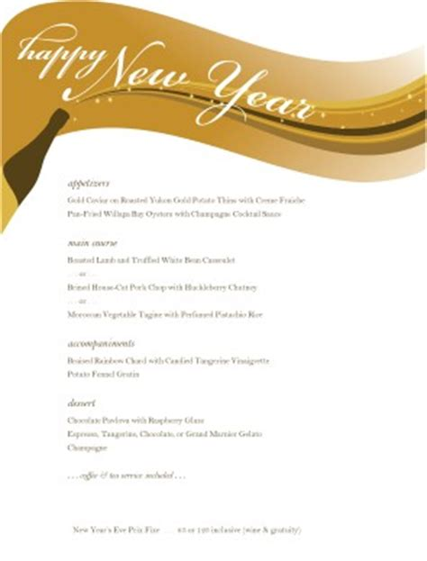 new years menu template customize menu for new years