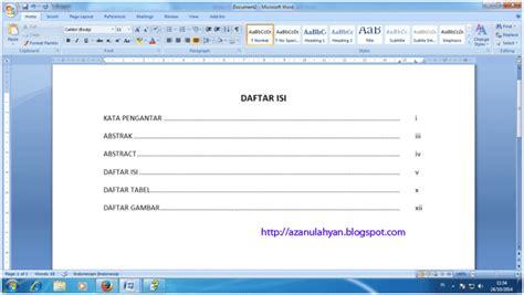 membuat makalah dengan ms word belajar membuat daftar isi dengan ms word azanul ahyan