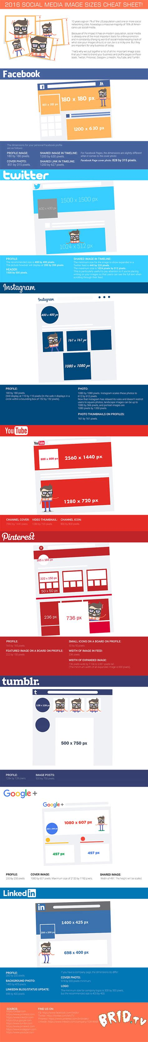 2016 social media marketing infographic 2016 social media image sizes cheat sheet infographic