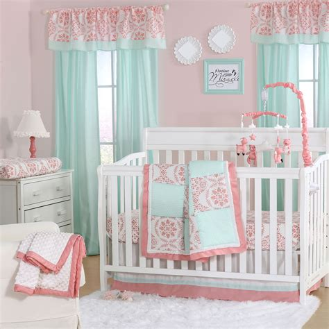 green nursery bedding sets mint green and coral patchwork 3 baby crib bedding set by the peanut shell 615339564842 ebay