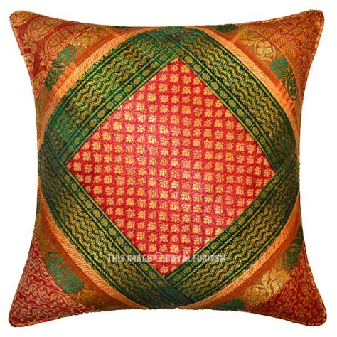 Handcrafted Pillows - green stripe multi colorful handcrafted unique throw