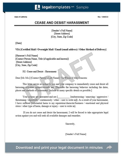 Harassment Response Letter Cease And Desist Letter C D Create A Cease Desist Template