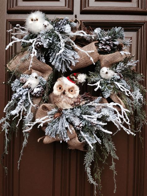 doves nest christmas ribbon owl wreath burlap ribbon on grapevine with winter pine nest she s crafty