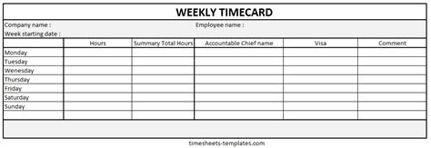 Ready To Use Printable Weekly Time Card With Hour Work Breakdown Detail Free Blank Time Card Template