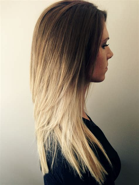 brown and blonde ombre with a line hair cut maeli honey brown to blonde melt luxe design