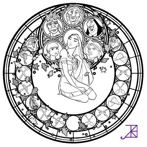 Pocahontas Stained Glass Line Art By Akili Amethyst On Stained Glass Disney Princess Free Coloring Sheets