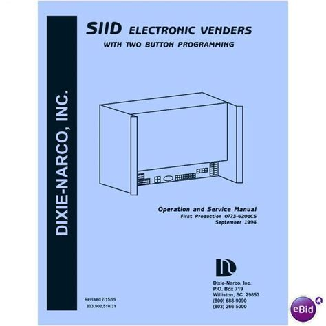 User Service Manual For Dixie Narco Siid S2d 2 Button