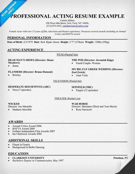 acting resume layout sle resume for professional acting 546 http
