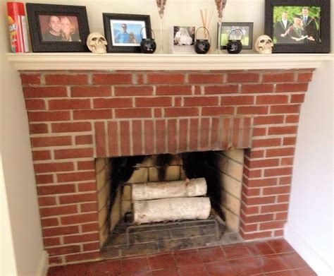 Brick Fireplace by White Washed Fireplace In Progress